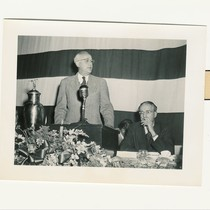 UCLA Provost Clarence A. Dykstra at podium, ca. 1945