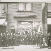 Eureka Fire House and firemen. Ca. 1858