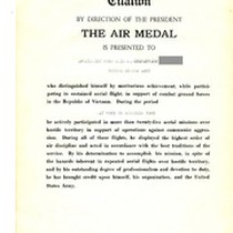 the Air Medal Citation Document Awarded To Gustafsson, 1969