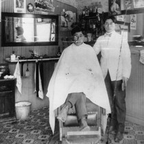 Kusumoto Barbershop, Interior View, Anaheim [graphic]