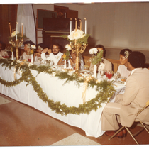 Group seated at banquet table