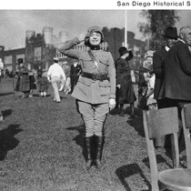 Actress Theodora Warfield wearing a uniform at San Diego High School