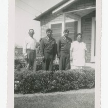 Barajas family with two sons in army uniforms, Los Nietos, California