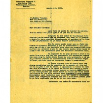 Letter from Francisco Venegas to Miguel Venegas, August 4, 1931