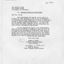 Letter, 1954 March 19, Washington, D.C. to Mrs. Estelle Ishigo, Los Angeles, ...