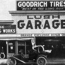Lush Garage, South Orange Street, Orange, California, 1915