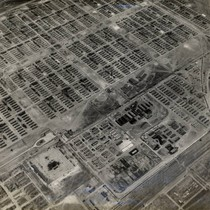 Aerial view of Tule Lake Relocation Center buildings