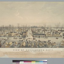 View of Sacramento City: as it appeared during the great inundation in ...