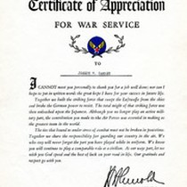 Army Air Forces Certificate of Appreciation For War Services Given To Gammey