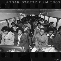 Students from South Central Los Angeles ride a school bus to Van ...