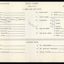 WPA Low income housing area survey data card 119, serial 3652, vacant