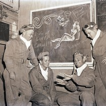 Cadets talking in the ready room, with pin-up doodle, Hancock College of ...