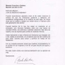 Letter from Marta Sahagun de Fox to Francisco Jiménez with translation