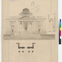 Architectural drawing of the Palace of Justice, signed by Arthur Brown, Jr