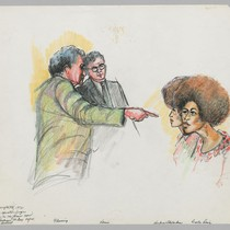 Alden Fleming [pointing]; District Attorney Albert Harris, Jr.; Kendra Alexander; Angela Davis