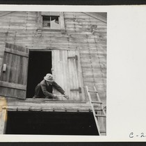 Nailing the hayloft door on the morning of evacuation. Farmers and other ...