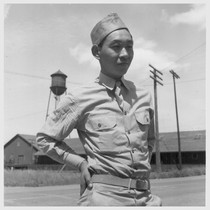 This American soldier of Japanese ancestry is shown at the railroad station ...