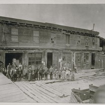 Abe Warner's Cobweb Palace. Francisco Street. Abe Warner in plug hat on ...