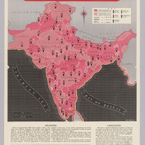 India: showing boundaries and chief or larger Indian states, principal religoilus and ...