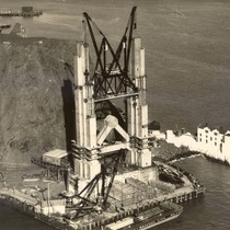 Construction of the north (Marin County) tower of the Golden Gate Bridge, ...