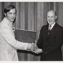 Plaque presentation to Dr. Wallace W. Hall by Santa Clara city councilman, ...