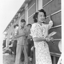 Sacramento, Calif.--This young woman of Japanese ancestry received credentials from the San ...