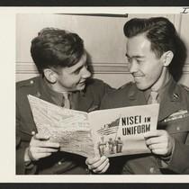 Pfc. Noboru Hokame, Hawaiian-born Japanese-American, and his Chicago buddy, Pfc. Charles P. ...