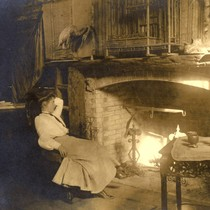 Fireplace in the party room at Camp Ho Ho, Larkspur, circa 1890 ...