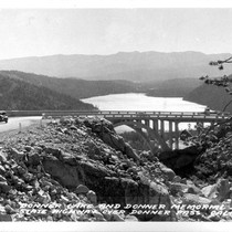 Donner Lake and Donner Memorial Bridge State Highway over Donner Pass, Calif