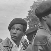 Black Panther guards at Free Huey Rally, Bobby Hutton Memorial Park, Oakland, ...