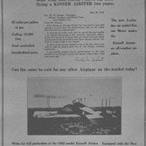 Ad for Kinner Airplane and Motor Corporation
