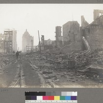 [Ruins and debris along Kearny Street. Call Building in distance, right center.]