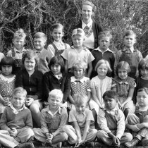 1st and 2nd grades, Yorba Linda Grammar School, January 1936