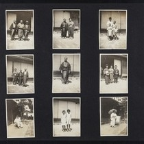 An album page with thirteen photographs, Japanese Americans in Los Angeles, circa ...