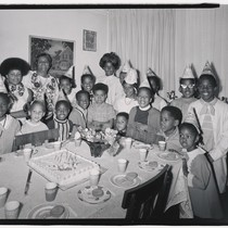 [African American children at a birthday party in Oakland, California.]