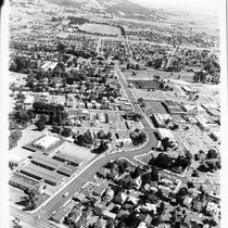 Aerial view from E and College toward the fairgrounds, Santa Rosa, California, ...