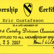 1st Cavalry Division Association Lifetime Membership Certificate Card Given To Gustafsson, 2007