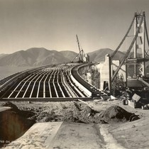 Golden Gate Bridge construction, before the roadway was poured, October, 1936 [photograph]
