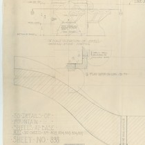 Architectural drawing of shells and fountain base, Pasadena City Hall, left side ...