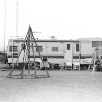 Slab City: photograph of camper and Christmas decorations