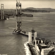 Both towers of the Golden Gate Bridge during its construction, April, 1935 ...