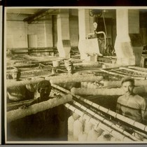 This shows Borax crystallizing tanks, the method of crystallizing and the men ...
