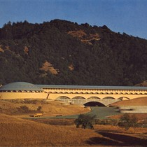 Administration Building upon completion in 1962, at the Frank Lloyd Wright-designed Marin ...