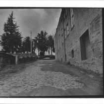 Alleyway leading down to Petaluma River, Petaluma, California, ca. 1950