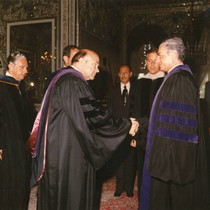 Bestowing an honorary degree on the Shah of Iran, 1977