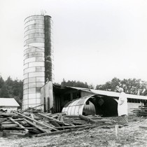The razing of silos on the former Roy Ranch, San Geronimo, California, ...