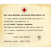 Honorary certificate to Miguel Venegas from Red Cross of Zapotlanejo, Mexico, 1985