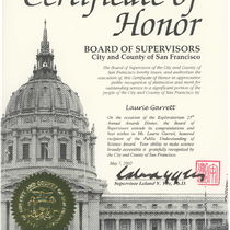 City and county of San Francisco Certificate of Honor