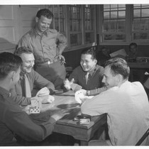 1st Lt. Shigeru Tsubota playing bridge with other officer patients at the ...