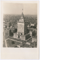 Aerial view of Oakland City Hall with City Hall Park in foreground, ...